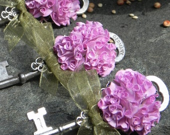 Skeleton Key Boutonnieres - Purple and Sage
