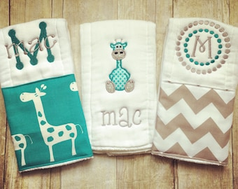 Personalized baby girl burp cloths safari giraffe personalized baby burp cloths safari giraffe baby gift negle Images