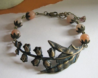 FREE SHIPPING - Shady Valley Bracelet (blush) - Vintage and botanical inspired, antiqued brass with lily of the valley centerpiece, pink aventurine and flower
