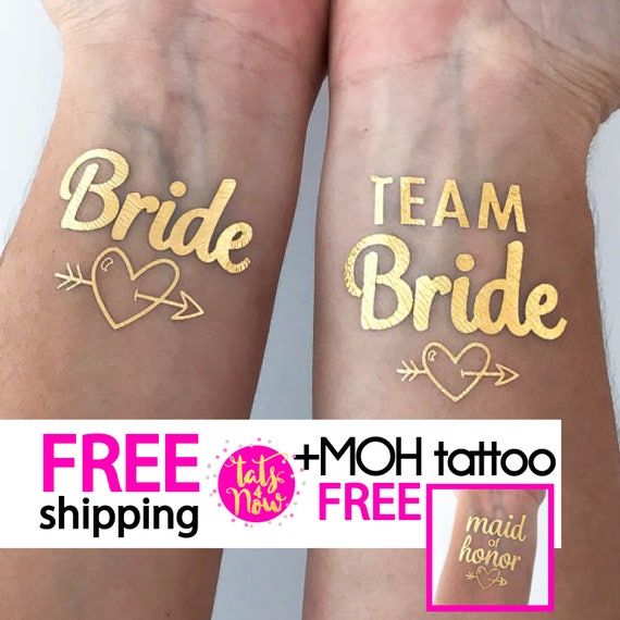 Team Bride + Bride + Maid of Honor gold tattoos