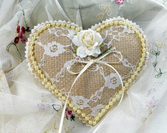 Burlap and Lace Heart Ring Bearer Pillow