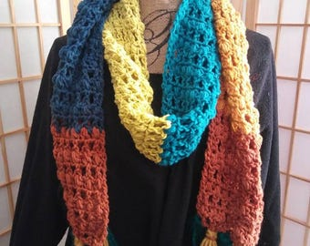 Crochet Super Fringed Scarf-Autumn Waters