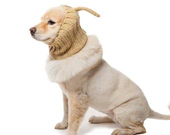 Jack Rabbit Dog Snood | Knit Crochet Dog Hat | Dog Costume | Winter Scarf | Ear Warmer