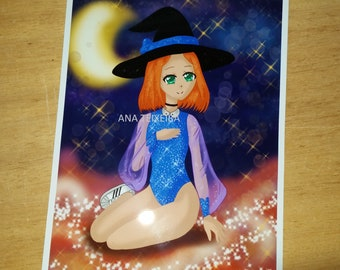 Anime witch digital art print
