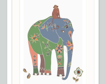 Safari Nursery Art - Indian Elephant - Quirky Jungle Theme