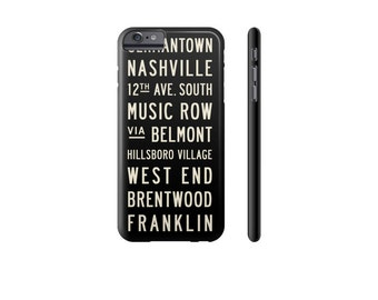 NASHVILLE iPhone X Case, iPhone 8 Case, iPhone 7 Plus Cover, Samsung Galaxy s7 Case, Protective iPhone Cases, Black & White Phone Case.