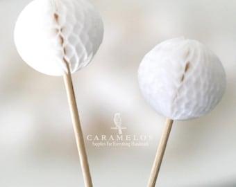 White Tissue Honeycomb Ball Picks - Cupcake topper Tissue Paper Pompom