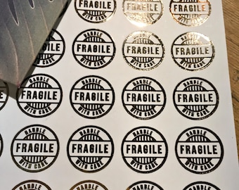 Fragile Handle with care foiled stickers