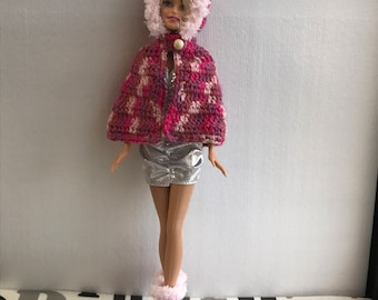 Pink cape and boots for barbie