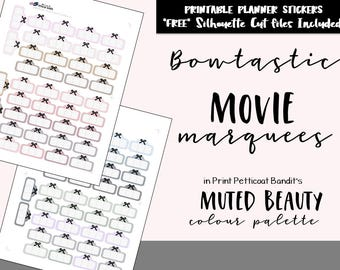 Muted Beauty Bowtastic Movie Marquees / Printable Planner Functional Movie Marquee / Bow Functional Printable Planner Stickers / Cut Files