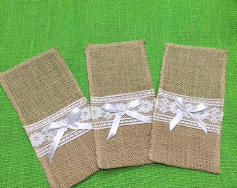 "Burlap Jute Utensil Holder 4"" x 8"" With White Lace. Burlap Silverware Holders, Ribbon Bow for a Wedding Reception or Rustic Decoration."