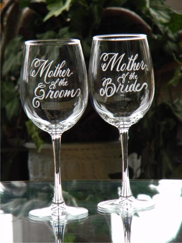 Unique Mother of the Bride and Groom Wine Glasses Personalized with JB74
