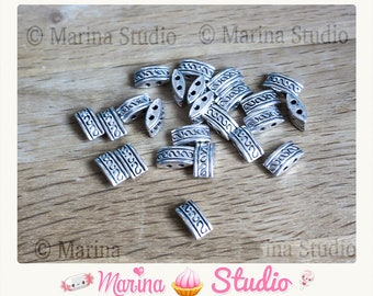 50 2 rows 10mmX5mm etched antique silver color beads