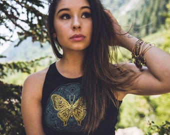 Butterfly Mandala Fitted Crop Top - Glow in the Dark Crop Top - Women's Butterfly Crop Top - Mandala Crop Top - Yoga Top - Festival Crop Top