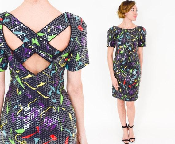 80er Jahre Pailletten Party Kleid Bunten Druck Minikleid