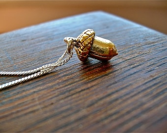 Natural Treasure - - Petite Golden Acorn Charm on Sterling Silver or 14kt Gold Fill Chain