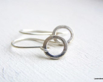 Tiny Circle Earrings , Silver Hammered Circle Earrings , Sterling Silver Earrings , Silver Hoop Earrings