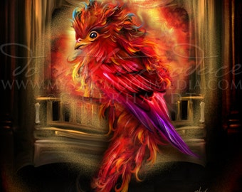 Begåvad the Phoenix...Baby Fire Phoenix... Print... Fantasy Picture...Phoenix within a Fire Place