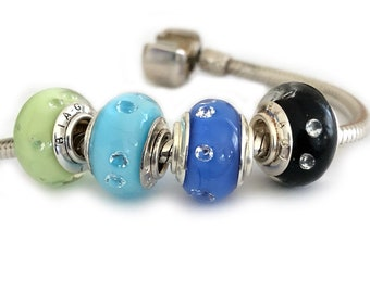 Murano Glass Cz Large Hole Beads for Bracelets Black Blue Green