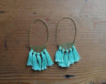 Brass Tassel Earrings - Mint