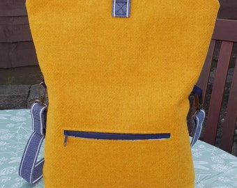 Harris Tweed Hand Made Three Ways Bag, Rucksack, Cross-Body Bag, Shoulder Bag, Mustard Tweed, Bright Pink Lining, Zip Closure and Pockets