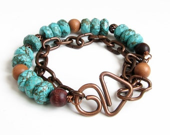 Rustic copper bracelet Womens gift For her Turquoise bracelet Boho jewelry Green chunky bracelet Beaded bracelet Earthy jewelry bracelet