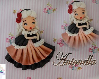 Antonella - chibi polymer clay jewelry Littlecreationsfimo