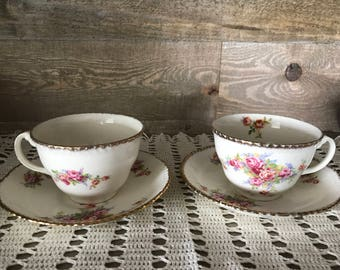 Vintage Wood's England Tea Cup and Saucer Set of Two