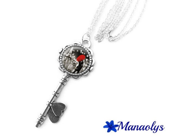 Necklace silver key, glass cabochon, lovers, red umbrella 422