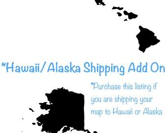 Hawaii/Alaska Shipping Add On for a Push Pin Travel Map
