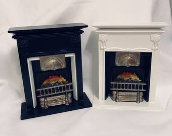 """Dollhouse Miniature 1"""" Scale Fireplace Black or White"""