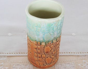 Handbuilt Stoneware Pottery Juice Glass, 6 oz, Bar Ware, Stone Texture, Green, Orange, Tumbler, Vase, Pencil Holder, Bathroom Accessory