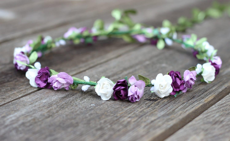 Floral Crown Purple Flower Crown Wedding Headband Rose Head