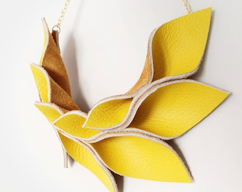 Leather Necklace Deep Yellow