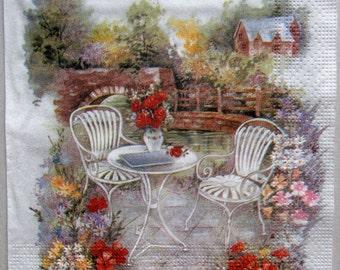 decoupage paper napkin, Decoupage paper supplies, Napkins for decoupage, Cafe, landscape
