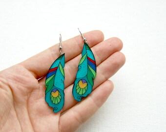 Peacock feathers earrings,  dangle earrings, illustrated jewelry