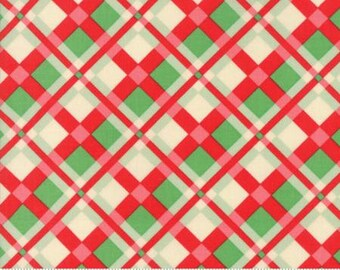 Wellengang Christmas von Urban Chiks--Karomuster in rot - 1/2 YD