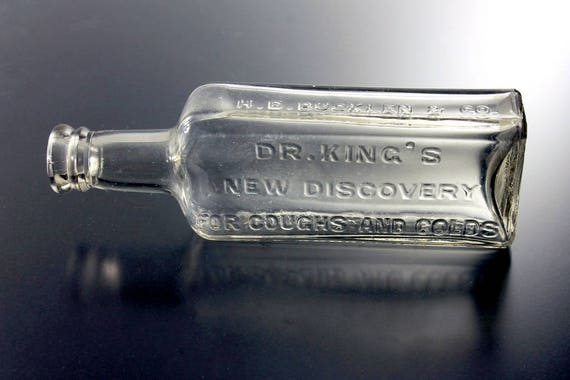 Antique Bottle, Dr. King's New Discovery, Aqua, Circa 1880s, Medicine Bottle, Cure, Patent Medicine, Quack Medicine, Embossed, Collectible