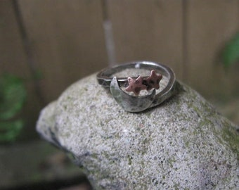 Sterling silver and copper moon and stars ring