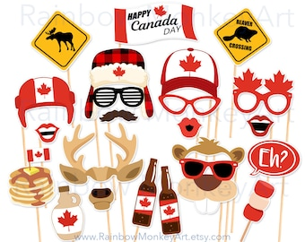 Printable Canada Day Photo Booth Props - Canada Day Photobooth Props - Canada Day Party Props