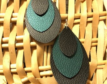 Hand made faux-leather earrings