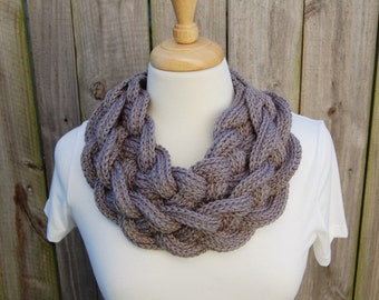 Women's Double Braided Cowl - Crochet Braided Infinity Scarf - Wooden Button Scarf - Layered Cowl -  Celtic Cowl - Valentines Gift for Her