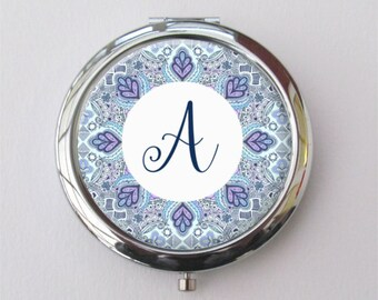 Personalized Compact Mirror - Boho Wedding - Custom Bridesmaid Gift