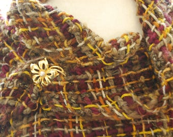 Handwoven Shawl, Woven Shawl, Triangle Shawl, Autumn Shawl, Autumn Wrap, Hand woven Triangle Shawl, Maroon and Yellow Shawl, Blind Sparrow