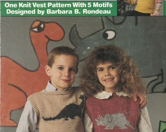 Vest, Child's Vest, Vest Pattern, Knitted Vest, Knitting Pattern, Dinosaurs, Triceratops, Brontosaurus, Stegosaurus,  Free Shipping