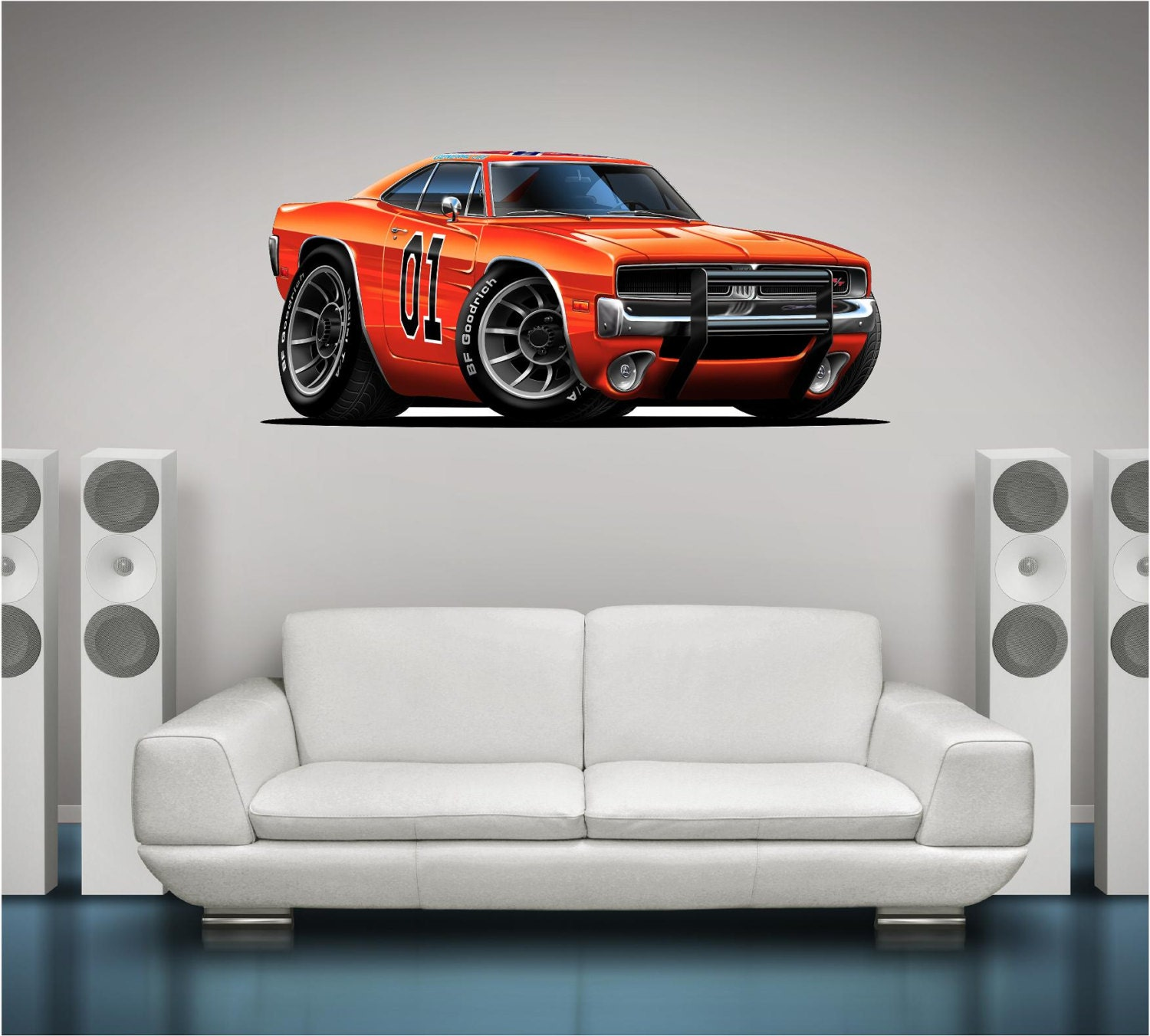 Dukes Of Hazard General Lee Car Wall Decal Classic - Custom vinyl wall decals for garage