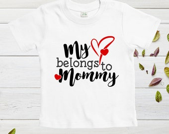 Mothers day onesies custom, My heart belongs to mom, Mother's Day Tshirts, funny designs for baby, mother day gift, baby clothes