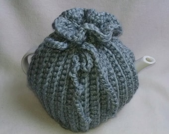 Crochet tea cosy Tea Pot Cozy - Teapot cozy in Grey, thick wool blend