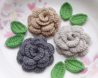 3 Crochet  Flowers (Roses) With Leaves YH - 142-04