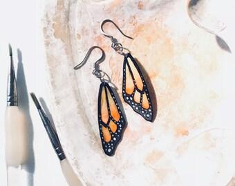 Monarch Butterfly Wings Earrings Hand Painted Watercolor